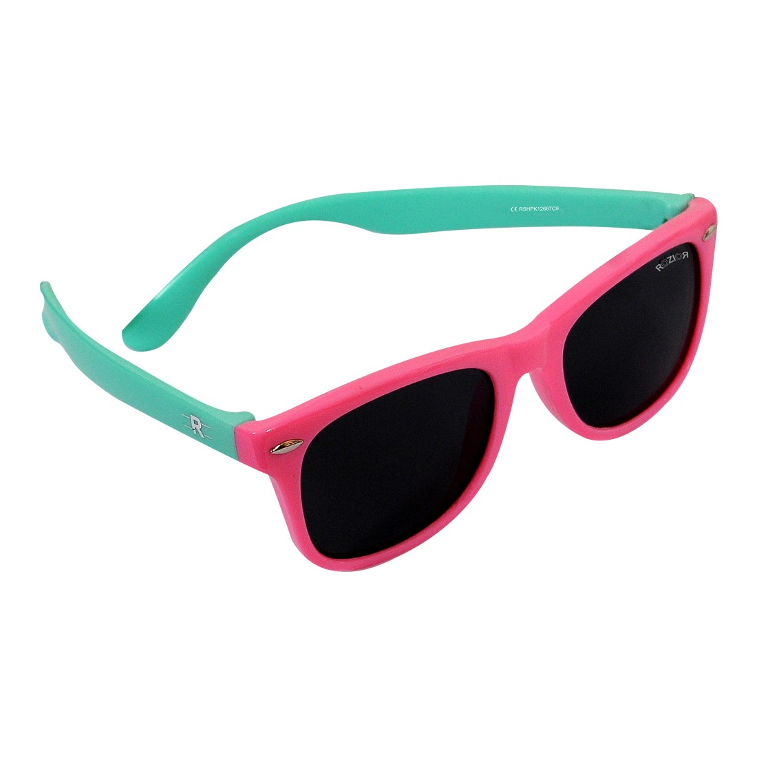 ROZIOR Kids Sunglass with UV Protection Smoke Lens with Pink Frame, MODEL: RSHPK12667C9