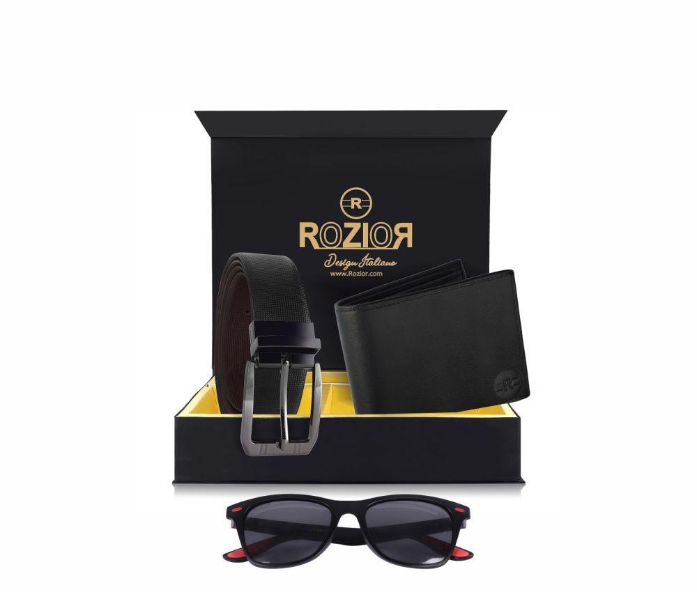 Rozior # 100% Genuine Leather Men's Belt & Wallet Gift Set with Rozior Polarized Sunglass