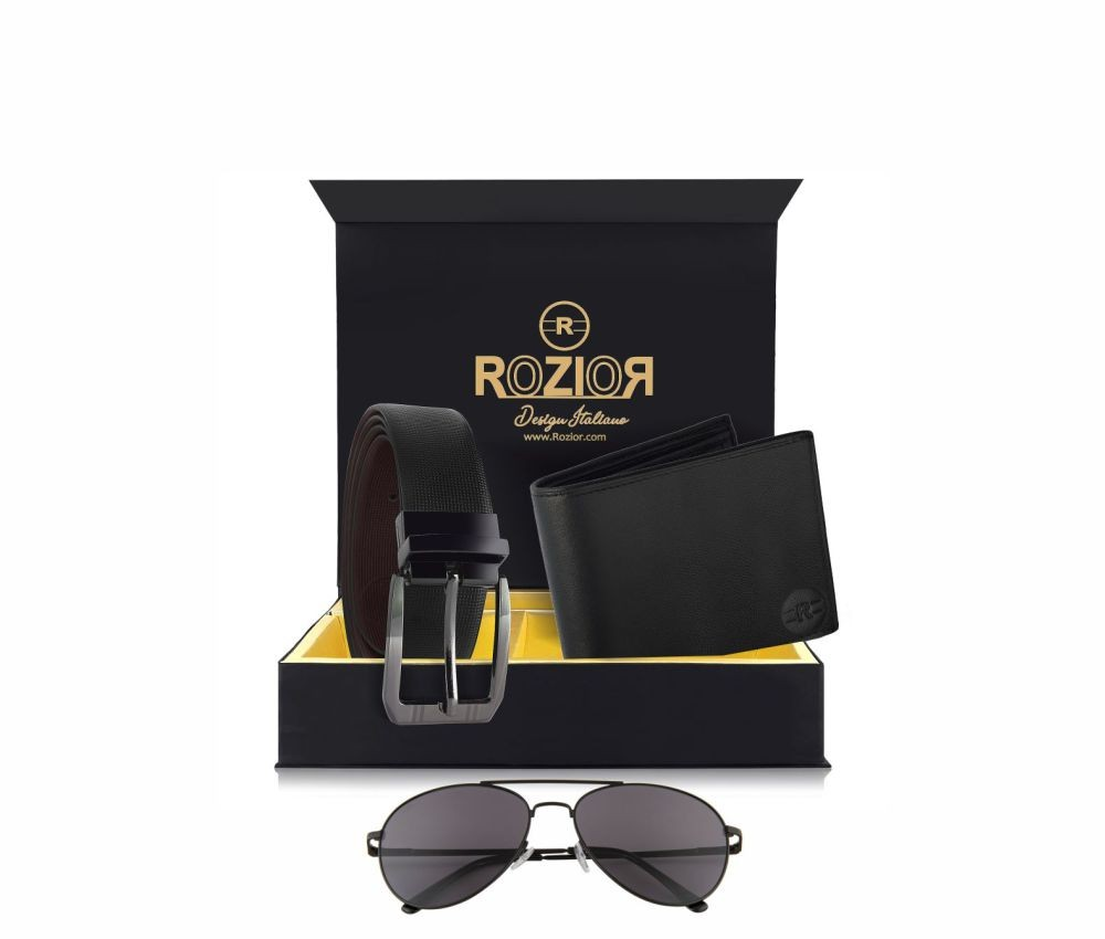 Rozior # 100% Genuine Leather Men's Belt & Wallet Gift Set with Rozior UV400 Sunglass