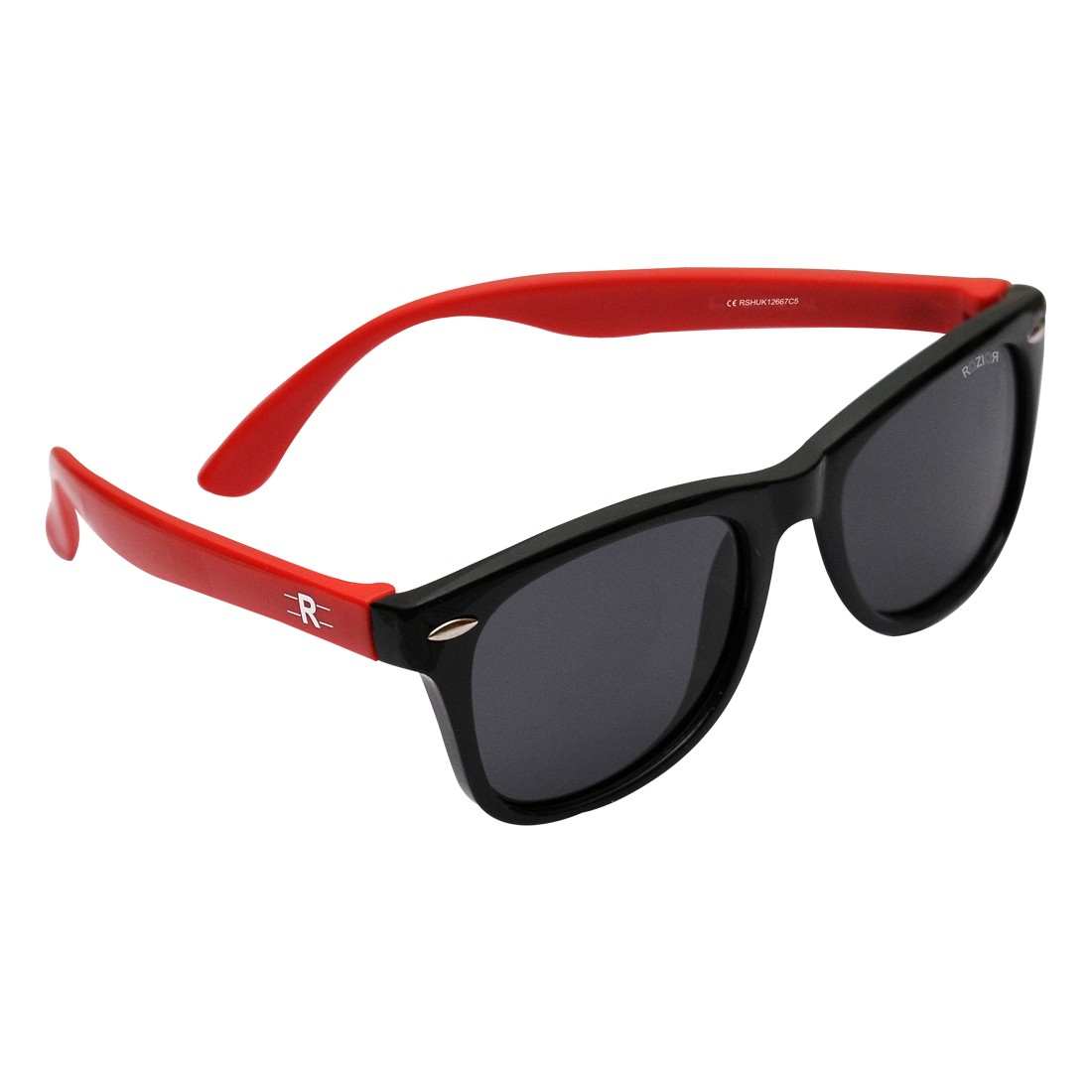 ROZIOR Kids Sunglass with UV Protection Smoke Lens with Black Frame, MODEL: RSHUK12667C5