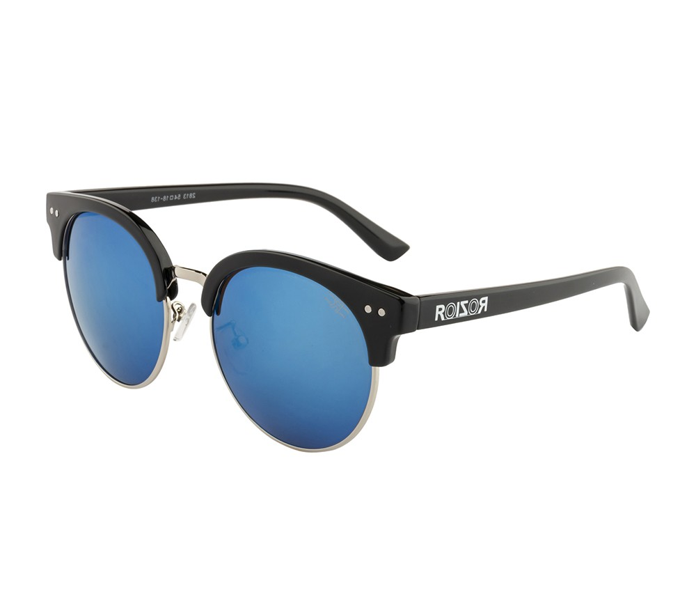 Rozior Black  Men Women Sunglass with UV Protection Blue Mirror Lens with Black Frame (Lens: Blue Mirror || Frame: Black , Model: RWU2813M4)