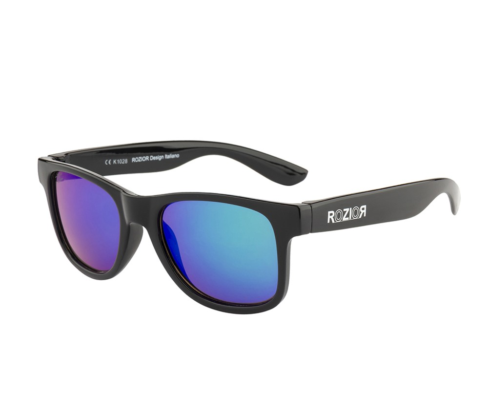 Rozior Black Kids Sunglass with UV Protection Green Mirror Lens with Black Frame  (Lens: Green Mirror   Frame: Black, Model: RWUK1028M1)