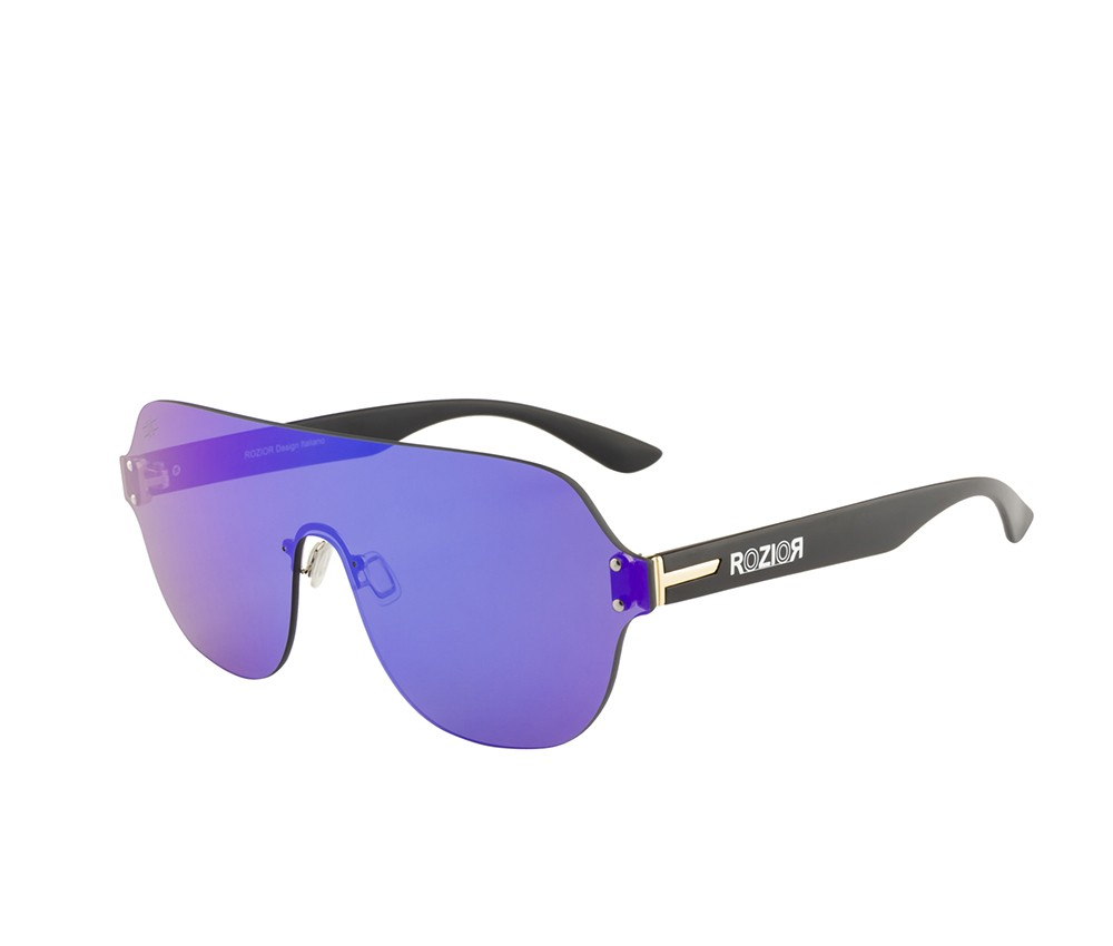 Rozior Black Men Women Sunglass with UV Protection Blue Mirror Lens with Black Frame  (Lens: Blue Mirror || Frame: Black, Model: RWUF1006M4)