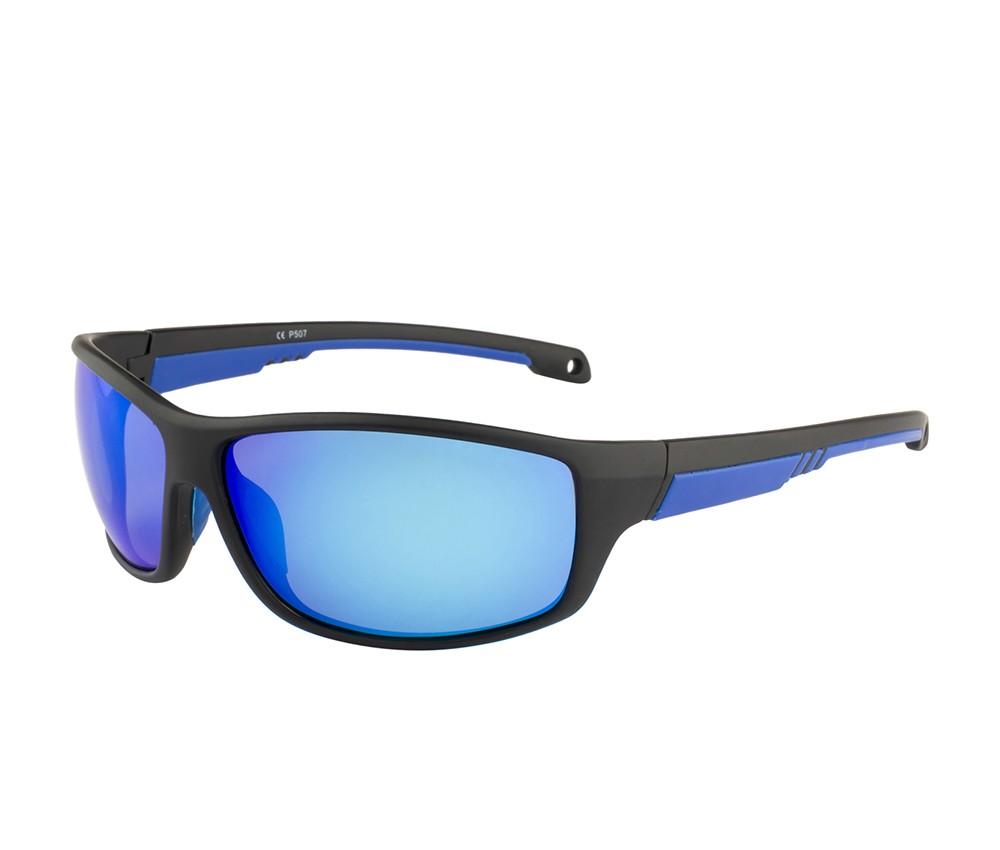 Rozior Black Men Women Polarised Sunglass with UV Protection Blue Mirror Lens with Black Frame  (Lens: Blue Mirror   Frame: Black, Model: RWPP507M4)