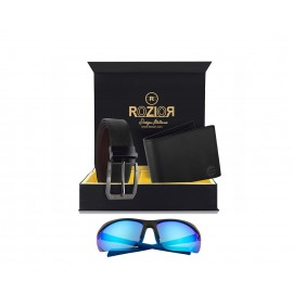 Rozior Luxury Men Genuine Soft Leather Belt and Wallet Gift Set with Sunglass RCB_RWPP509M4_MBZ1_MWZ1