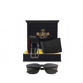 Rozior Luxury Men Genuine Soft Leather Belt and Wallet Gift Set with Sunglass RCB_RWUF1001C1_MBZ1_MWZ1
