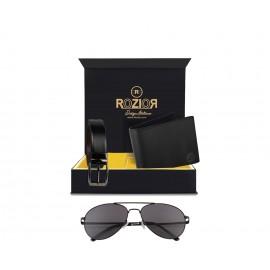 Rozior® Luxury Men Genuine Soft Leather Belt and Wallet Gift Set with Sunglass (Smoke Black Lens)RCB_RWU2018C7_MBZ1_MWZ1
