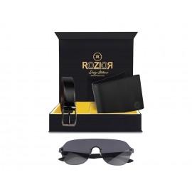 Rozior® Luxury Men Genuine Soft Leather Belt and Wallet Gift Set with Sunglass (Smoke Black Lens/Glossy Black Frame)RCB_RWUF1006C1_MBZ1_MWZ1