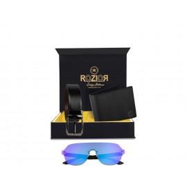 Rozior® Luxury Men Genuine Soft Leather Belt and Wallet Gift Set with Sunglass (Blue Mirror Lens)RCB_RWUF1006M4_MBZ1_MWZ1