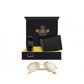 Rozior® Luxury Men Genuine Soft Leather Belt and Wallet Gift Set with Sunglass (Silver Mirror Lens)RCB_RWU2040M2_MBZ1_MWZ1