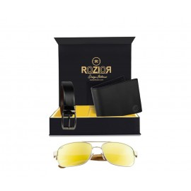 Rozior® Luxury Men Genuine Soft Leather Belt and Wallet Gift Set with Sunglass (Golden Lens)RCB_RWP1701M3_MBZ1_MWZ1