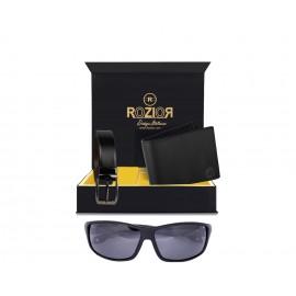 Rozior® Luxury Men Genuine Soft Leather Belt and Wallet Gift Set with Sunglass (Black Lens)RCB_RWPP507C1_MBZ1_MWZ1