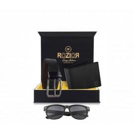Rozior # 100% Genuine Leather Men's Belt & Wallet Gift Set with Rozior UV400 Sunglass
