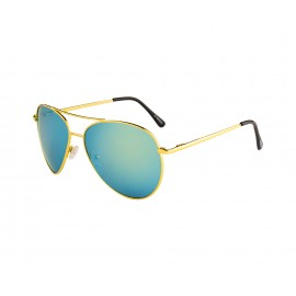 Rozior Golden  Men Women Sunglass with UV Protection Green Mirror Lens with Golden Frame (Lens: Blue Green Mirror || Frame: Golden, Model: RWU2030M3)