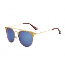 Rozior Golden  Men Women Sunglass with UV Protection Blue Mirror Lens with Golden Frame  (Lens: Blue Mirror || Frame: Golden, Model: RWU2207M4)