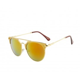 Rozior Golden  Men Women Sunglass with UV Protection Red Mirror Lens with Golden Frame  (Lens: Red Mirror    Frame: Golden, Model: RWU2207M5)