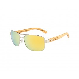 Rozior Silver Men Women Polarised Sunglass with UV Protection Golden Real Lens with Silver Frame  (Lens: Golden Real|| Frame: Silver, Model: RWP1701M3)