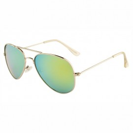 Rozior Silver  Men Women Polarised Sunglass with UV Protection Green Mirror Lens with Silver Frame (Lens: Green Mirror || Frame: Silver, Model: RWPPJH0911M1)