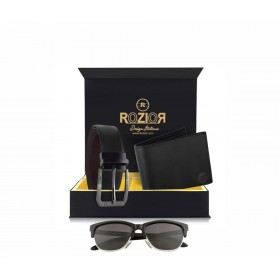 Rozior # 100% Genuine Leather Men's Belt & Wallet Gift Set with Rozior Sunglass