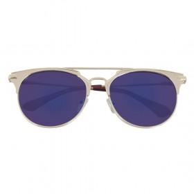 Rozior Golden  Men Women Sunglass with UV Protection Blue Mirror Lens with Golden Frame  (Lens: Blue Mirror || Frame: Golden, Model: RWU2207M4)