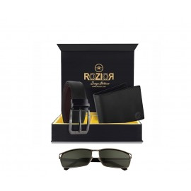 Rozior Luxury Men Genuine Soft Leather Belt and Wallet Gift Set with Sunglass RCB_RWP2848C1_MBZ1_MWZ1