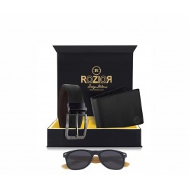 Rozior # 100% Genuine Leather Men's Belt & Wallet Gift Set with Rozior UV400 Wooden Sunglass