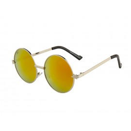 Rozior Silver Men Women Sunglass with UV Protection Golden Red Mirror Lens with Silver Frame  (Lens: Golden Red Mirror    Frame: Silver, Model: RWUJH575M5)