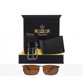 Rozior Men Leather Belt and Wallet Gift Set with Sunglass (Glossy Brown) RCB_RWP2848C2_MBZ1_MWZ1