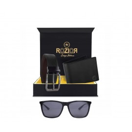 Rozior Men Leather Belt and Wallet Gift Set with Sunglass (Smoke Black) RCB_ RSP60426C1_MBZ1_MWZ1